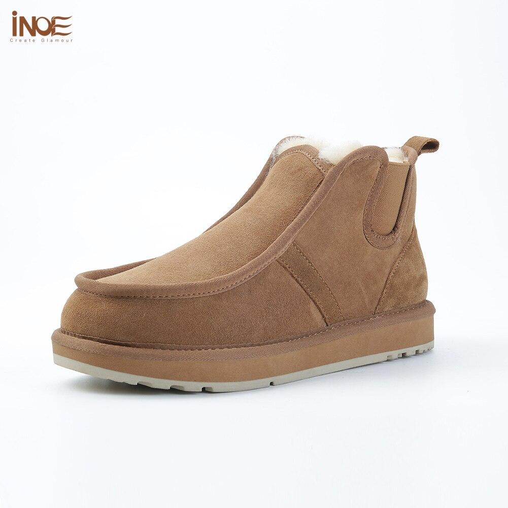 INOE Beckham même style de mode réel en peau de mouton en cuir daim d'hiver neige bottes pour hommes laine naturelle doublé de fourrure d'hiver paresseux chaussures