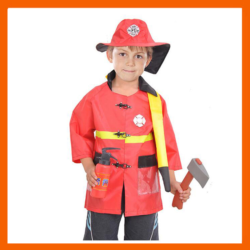 2017 NEW KID FIREMAN COSTUMES RED FIRE FIGHTER CAREER SUIT KIDS HALLOWEEN COSPLAY UNIFORM FOR KIDS BOYS