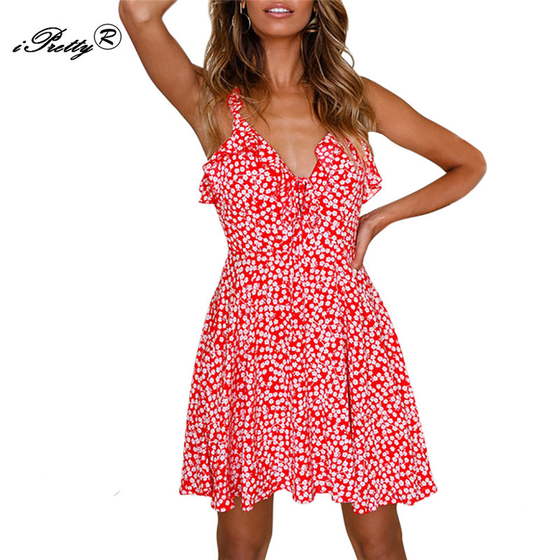 Ruffle V Neck Floral Print Red Mini Dress Women Summer Sexy Beach ...