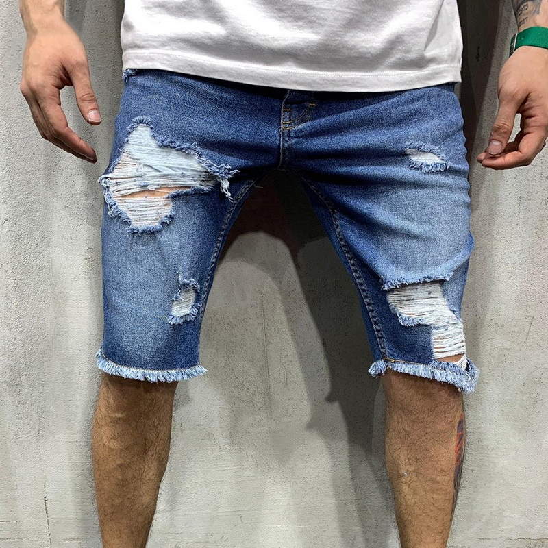 VERTVIE 2019 Summer Men Ripped Denim Shorts Fashion Short Jeans Pants Brand Men Denim Shorts Bermuda Streetwear Casual Shorts(China)