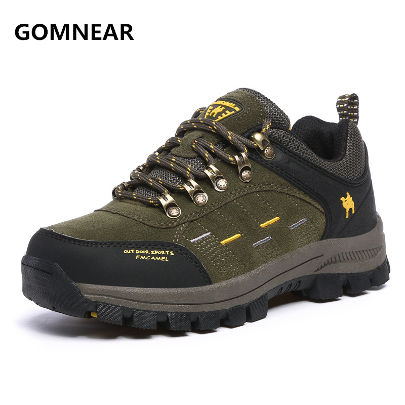 GOMNEAR Sneakers For Men Breathable Hiking Shoes Male Outdoor Antiskid Wear-resisting Walking Trekking Jogging Tourism Boots iverson basketball shoes male adolescents spring low help iverson war boots light wear antiskid sports shoes