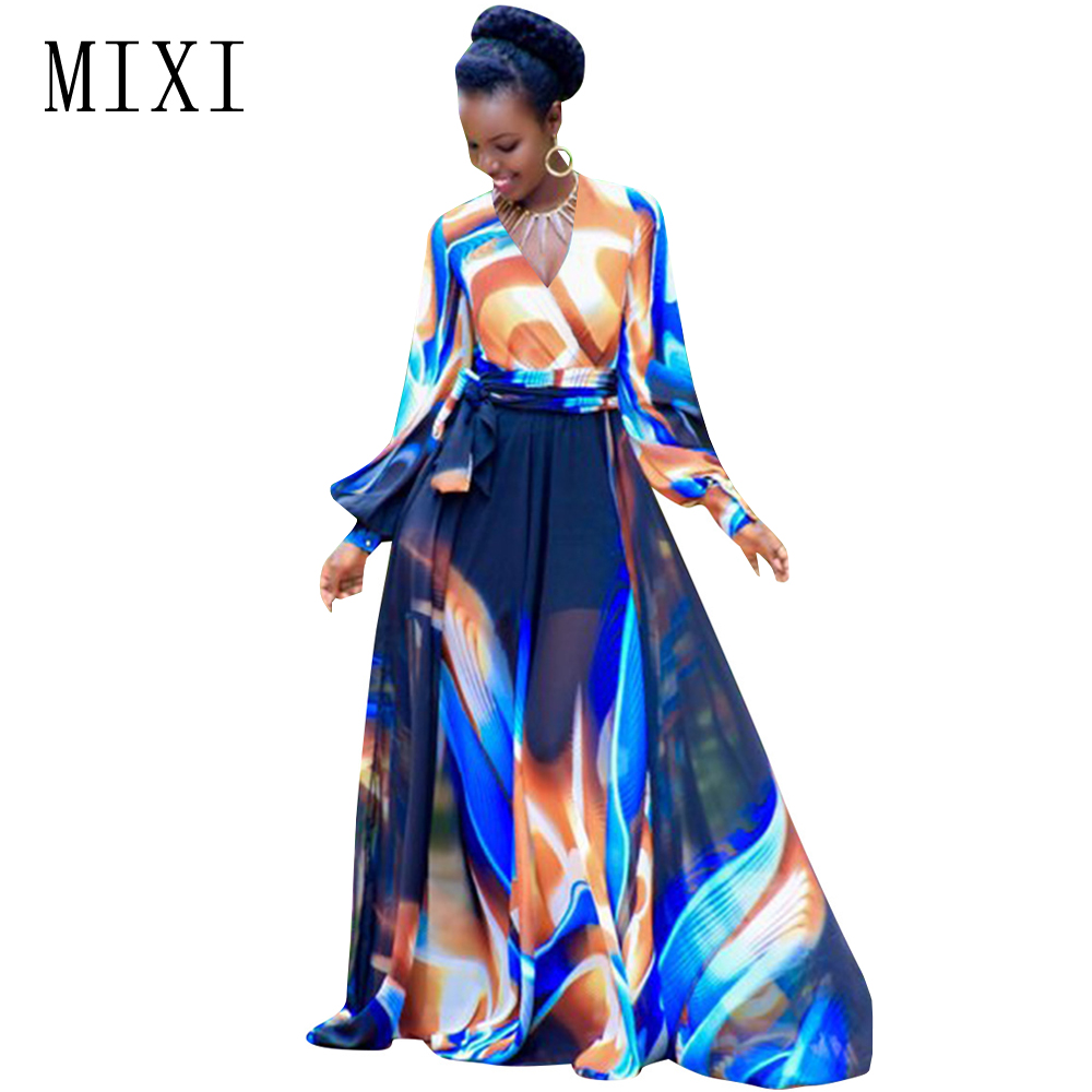 MIXI Women Long Printed Dress Full Sleeve V Neck Chiffon Floor Length Maxi Dresses Belted Vintage Evening Party Dress Plus Size