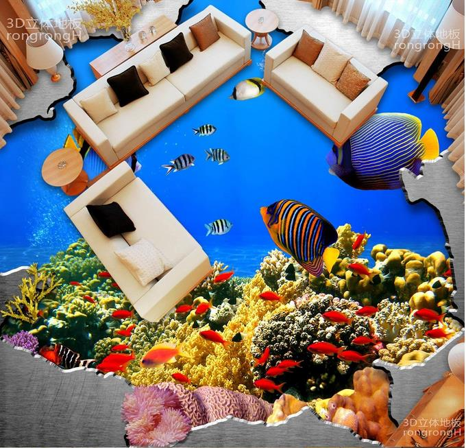 Floor Vinyl Wallpaper The underwater world 3d Flooring Wallpaper For Kids Room Self-adhesive Wallpapers 3d Flooring Modern coeus 3d wooden puzzle the beautiful world the wedding chapel educational games for kids 3d puzzles for adults