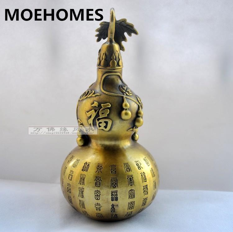 MOEHOMES Čínská lidová mosaz Vyřezávané FengShui Gourd Cucurbit štěstí Socha-Dispel zlo přinést mír foo kovové řemeslné dekorace