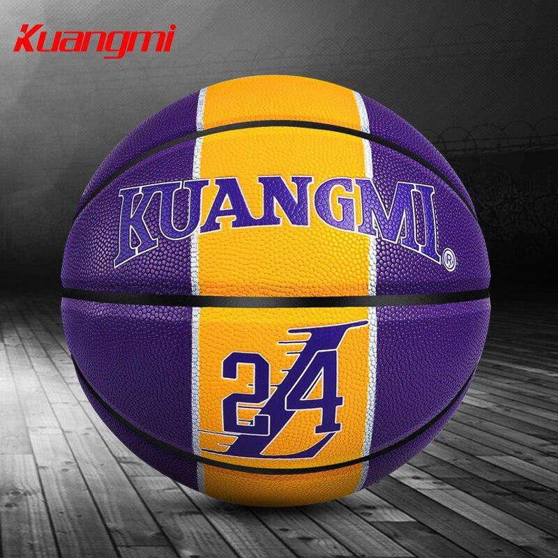 Kuangmi taille officielle 7 basket-Ball numéro hommage compétition intérieure et extérieure balle d'entraînement gratuite avec sac en filet + aiguille