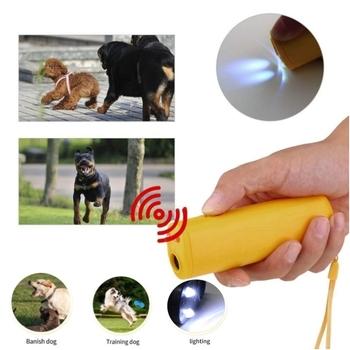 Wzmocnienie sprzętu do szkolenia psów dla zwierząt ultradźwiękowy odstraszacz 3 w 1 urządzenie do kontroli trenera Anti Barking Stop Bark odstraszacze tanie i dobre opinie LISM Repelenty 2FAZ-01 Z tworzywa sztucznego Plastic Yellow black 25 KHz 130dB 130 mA 9V Battery (Not included 13 x 4 x 2 6cm
