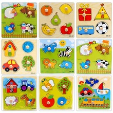 New Cute Baby Toddler Intelligence Development Animal Cognize Wooden Colorful Brick Puzzle font b Toy b