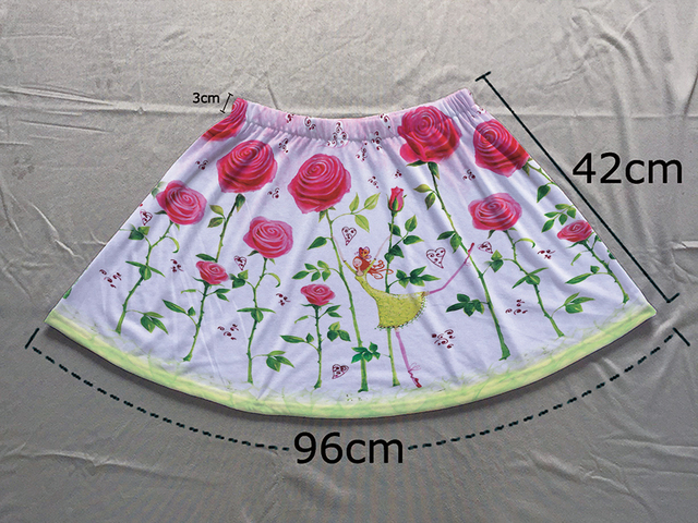 e5392109de955 Track Ship+Double Print Comfortable Light Luxury Short Flare Mini Skirt  Young Fairy Girl Dance in Spring Red Rose Field 1471-in Skirts from Women's  ...