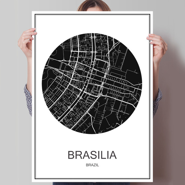Brazil brasilia modern world city map abstract print picture poster brazil brasilia modern world city map abstract print picture poster canvas coated paper oil painting cafe gumiabroncs Image collections