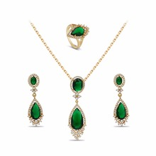 New Turkish Fashion Design Jewelry Sets Double Water Drop Crystal Earrings Necklaces Ring Set For Women Party Gifts