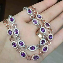 Natural Amethyst Bracelet inlaid jewelry wholesale S925 silver silver free shipping