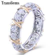TransGems Solid 14K 585 Yellow and White Gold Moissanite Diamond Eternity Wedding Band Engagement Anniversary Ring for Women