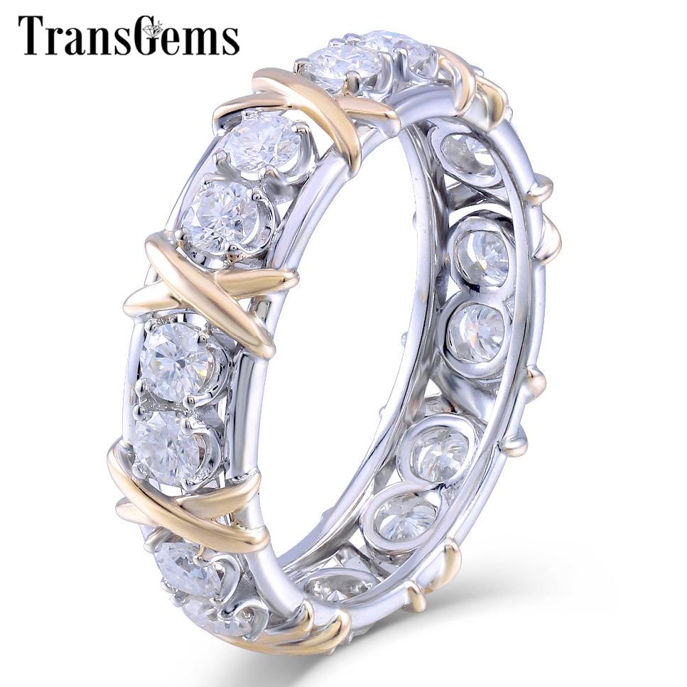 TransGems Solide 14 K 585 Jaune et Or Blanc Moissanite Diamant Eternity Wedding Band Engagement Anniversaire Anneau pour les Femmes