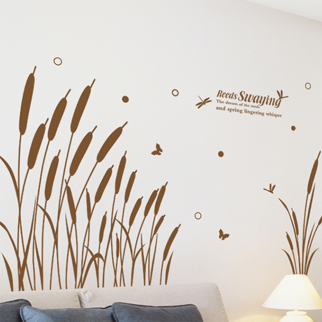 new reed grass wall stickers plant decals for living kids room house