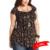 Más el Tamaño de Impresión de La Vendimia Camisetas 4Xl 5Xl 6Xl de Gran Tamaño Tribal Imprimir Túnica de Manga Corta Negro Camiseta Floja Con Cuello En V encaje