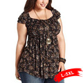 Plus Size Vintage Print T-Shirts 4Xl 5Xl 6Xl Large Size Tribal Print Tunic Short Sleeve Black Loose Tee V Neck Lace