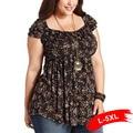 Plus Size Vintage Print T-Shirts 4Xl 5Xl 6Xl Large Size Tribal Print Tunic Short Sleeve Black Loose Tee V Neck Lace