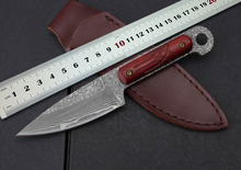New Damascus Small Antelope Tactical Straight Knife 18cm 61HRC Hiking Camping Self-DefenseTool Survival Knives in Free Shipping