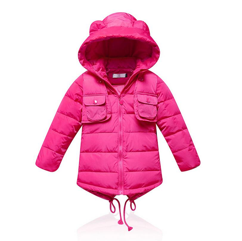 ФОТО 2016 New Winter for children/kid/girl white duck down coats hoodies outerwear thicken parkas coats solid color down jackets