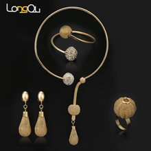 2016 Dubai African Gold-color Jewelry Watkins Lantern Pendant Necklace Bracelet Earrings Ring Wedding Overgild Jewelry Sets(China)