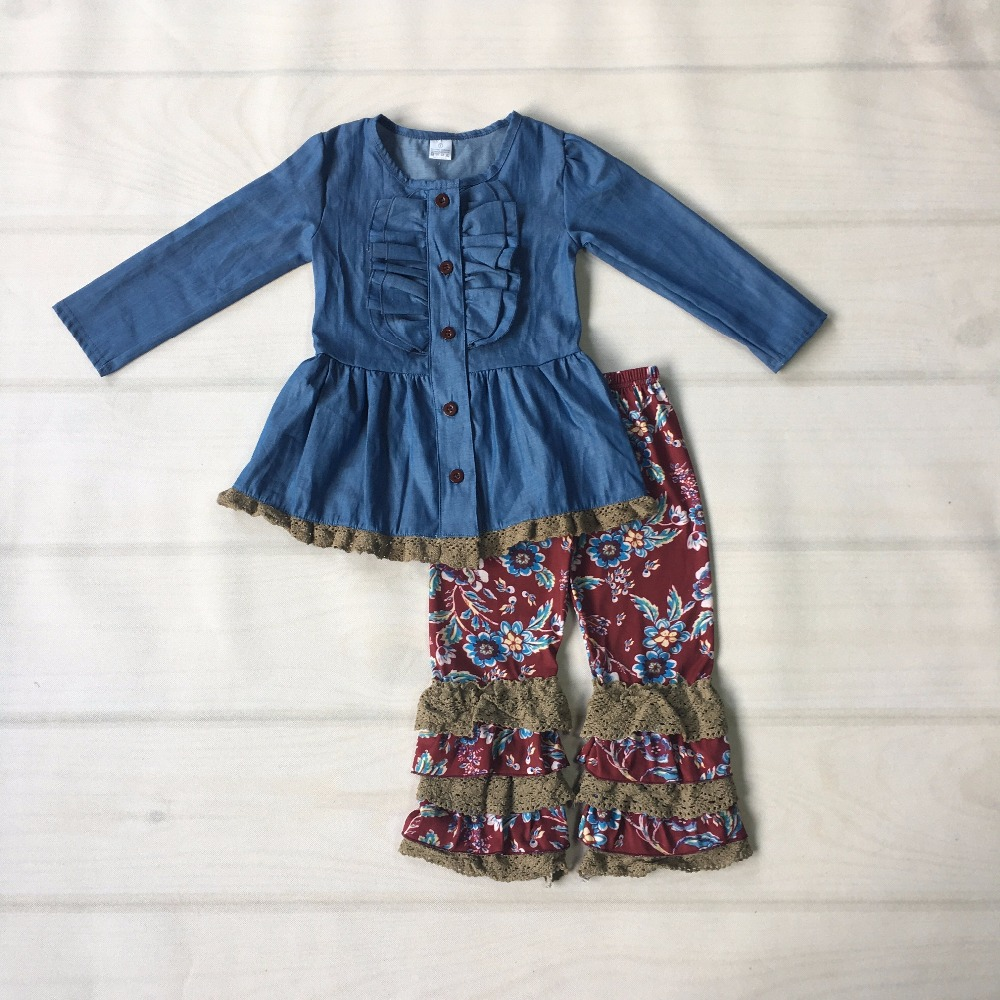 Hot Sale Baby Girl Clothes Set Solid Blue Denim Cardigan Top Print Knitted Pants Ruffle Patchwork Pants Kids Fashion 2GK807-473 cherry print ruffle top