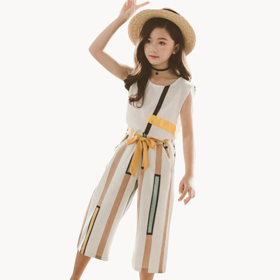 Summer Clothes For Girls Fashion Vest + Striped Short 2PCS Summer Girl Set Teenage Kids Girls Clothes Set 6 8 10 12 13 14 Year(China)