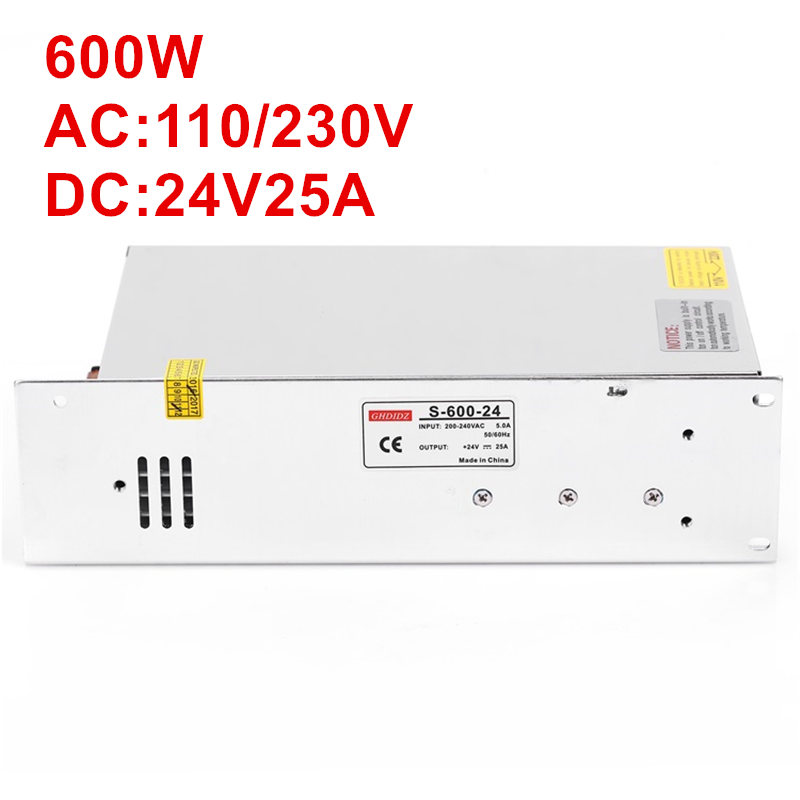 1PCS 600W 24V Power Supply 24V25A AC-DC High-Power PSU 600W 100-240V DC24V 25A S-600-241PCS 600W 24V Power Supply 24V25A AC-DC High-Power PSU 600W 100-240V DC24V 25A S-600-24