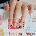 24pcs New hot sell fashion Long section Square head candy false nails decoration Pearl powder M 351
