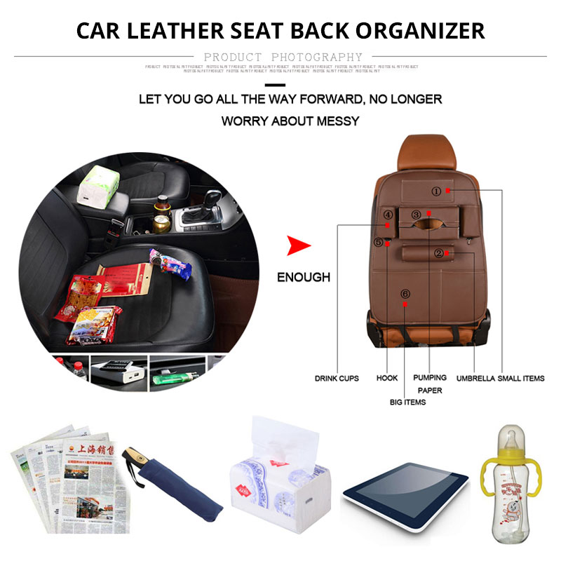Car Seat Back Storage Bag Universal PU Leather Seats Organizer Travel Box Pocket Stowing Tidying Protector Kids Auto Accessoires (5)