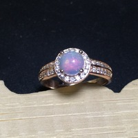 Round Natural Opal Stone Solid Silver 925 Rings Women 100 925 Sterling Silver Jewelry Elegant Ladys