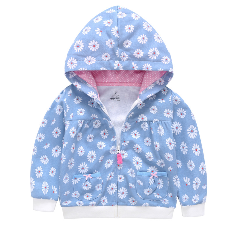 NEW Baby Toddler Girls Daisy Cotton Zip Hoodie Jacket size 6m.12m.18m.24m