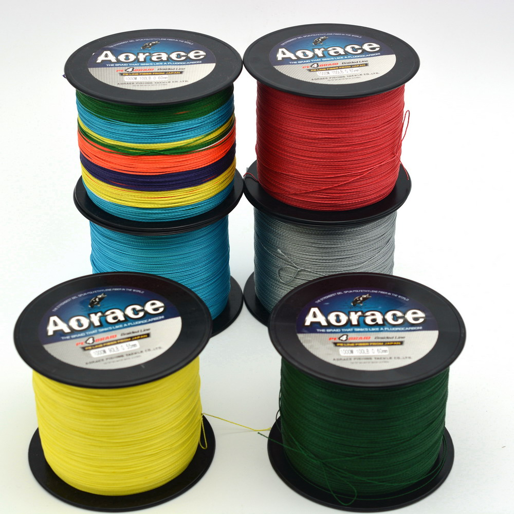Aorace brand 1000m red gray green blue ect braided fishing for 20 lb braided fishing line