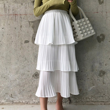 Spring Summer Fairy Solid White Black Cakee Layered Chiffon Skirt Sweet Ruffles Tiered Mid-calf Crepe Pleated Long