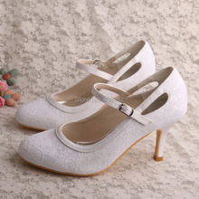 Customized Wholesale Closed Toe White Bridesmaid Shoes Lace Wedding Thin Heel 8CM