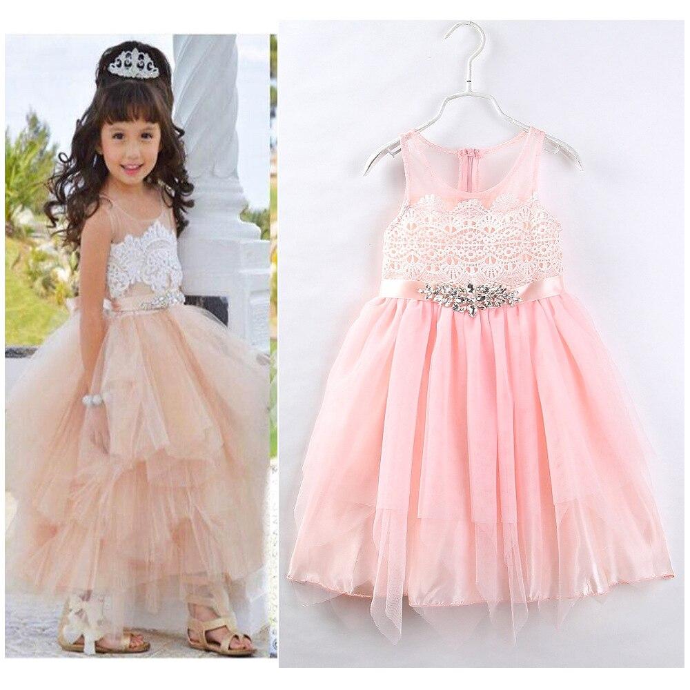 d2f524d7fac Новинка  жилет для девочки розовое кружевное платье маленьких принцесс  праздничная одежда