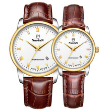 Couple Watches Nuodun Quartz Watch Auto Date Waterproof Leather Nato Strap 22mm Antique Watches Wrist Watch