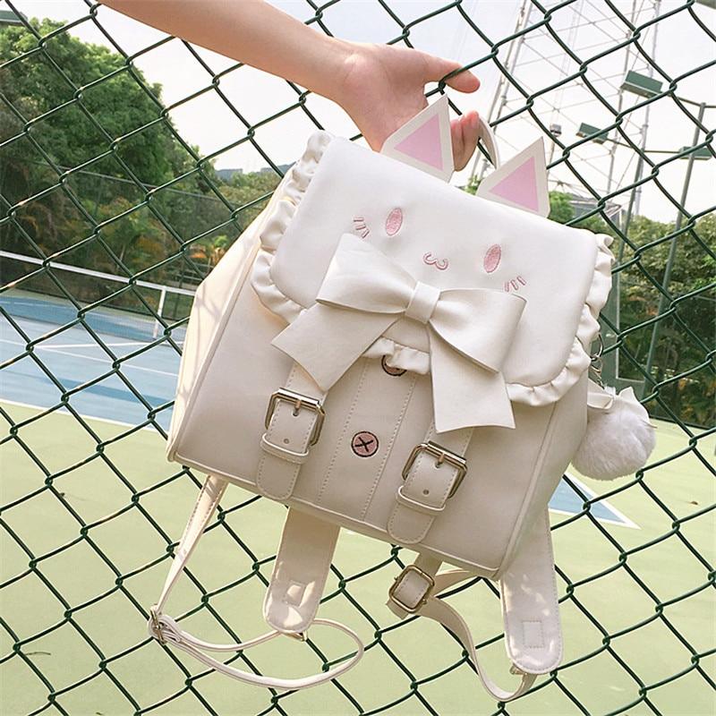 Lolita Cute Cat Backpack School Women Pu Leather Backpacks Teenage Girls Kawaii Bow Ears Shoulder Bags Female Mochila Pink White
