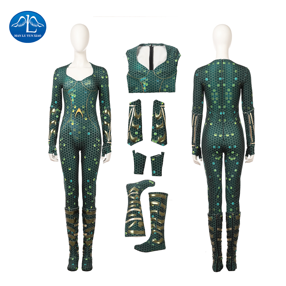 New Aquaman Cosplay Costume Mera Costume Women Jumpsuit Halloween Costume For Women Full Set Custom Made Free Shipping