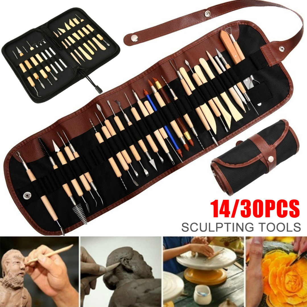 Beginner Clay Pottery Ceramic Sculpting Tools 14/30pcs Pottery Woodwork Sculpting Tool Kit DIY Wood Clay Crafts Modeling Tools