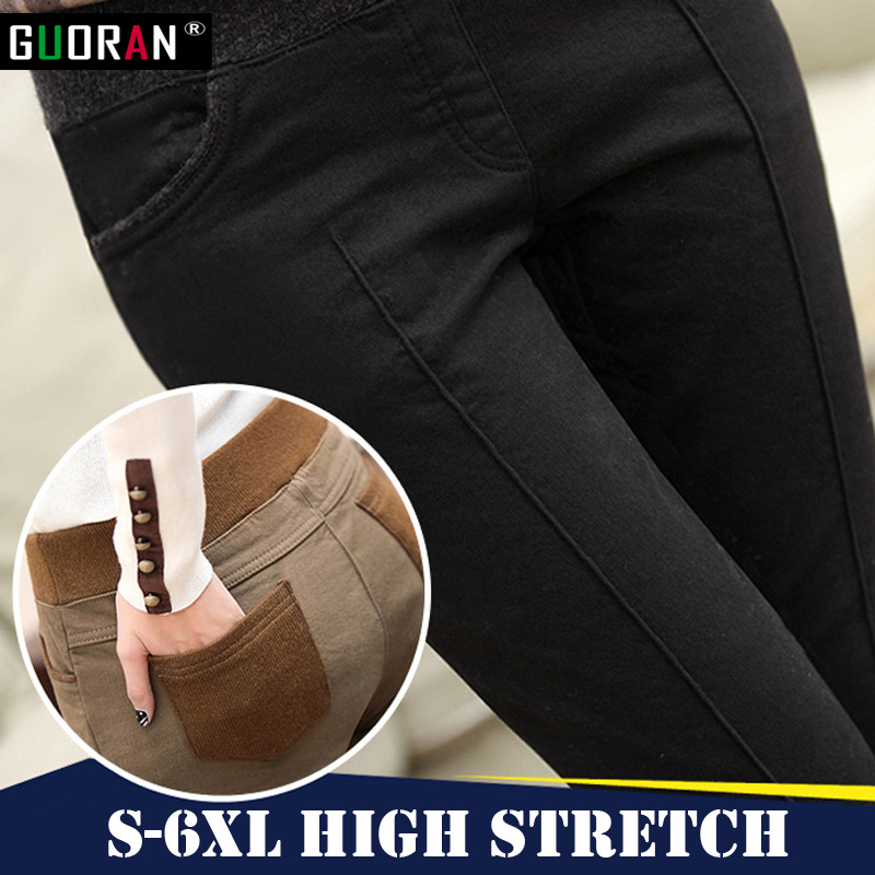 Plus size 5XL 6XL women   pants   &   capris   elastic high waist skinny thicken warm work pencil   pants   female trousers pantalon femme