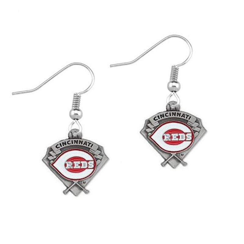 5 Pairs Baseball Fans Earrings Alloy Baseball Team Cincinnati Reds Charm Drop Earrings