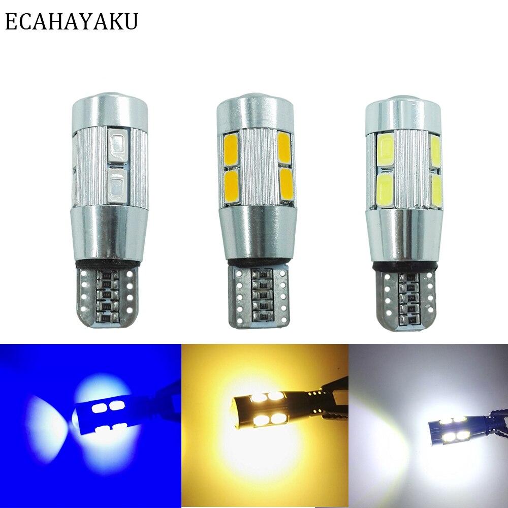 ECAHAYAKU 10PCS Car Styling Auto LED T10 Canbus 194 W5W 10 SMD 5630 Light Bulb No Error Parking Side
