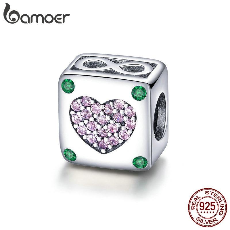 BAMOER auténtica plata esterlina 925 amor infinito en la plaza corazón encantos encajar Original pulseras DIY joyería regalo SCC900