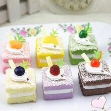1 шт. 3,5 см квадратный кремовый торт Детские кухонные игрушки сходство хлебобулочная глазурь милый торт Фотография еда реквизит случайный цвет