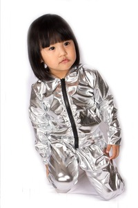 Image 4 - Spring Autumn Kids Silver bomber Jacket Stage Performance Wear paillette feminina casaco Hip Hop dance coat