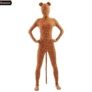 Image 5 - Ensnovo Spandex kaplan kostüm Cosplay Zentai Zebra leopar Bodysuit Unitard giyisi streç naylon tam vücut hayvan kostümleri