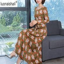 High Quality Women s Maxi Dress O-Neck Plant Print Ankle-Length Zipperfly  2018 Modern Fashion Women s Maxi Dress Plus Size 4XL 8bed76a3bbf3