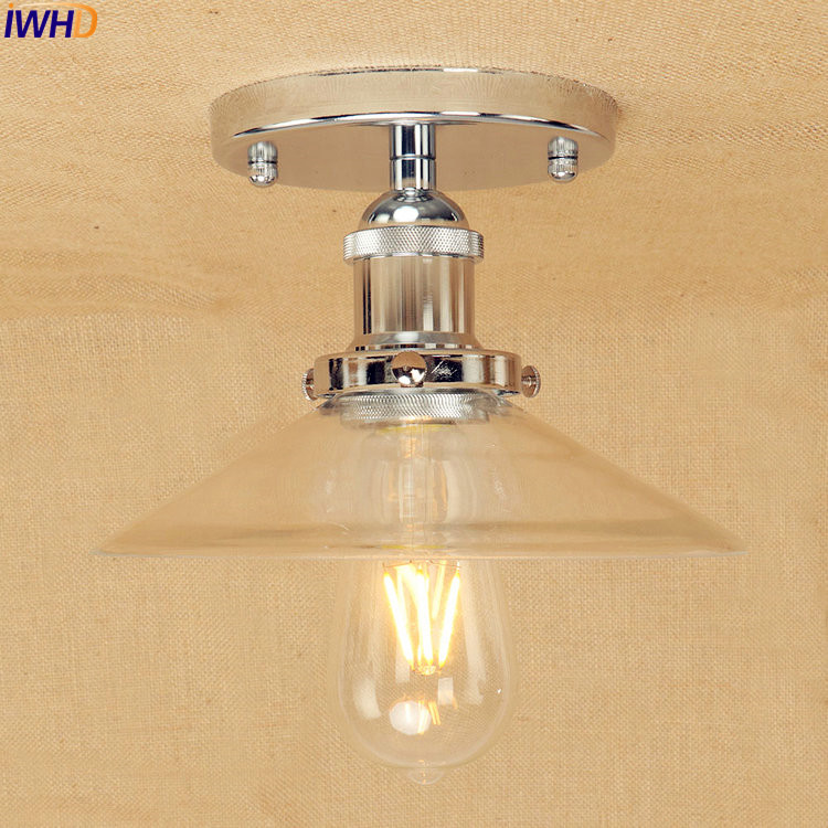 IWHD Silver Retro Industrial Ceiling Lamp Glass Lampshade Home Lighting Loft Vintage LED Ceiling Lights Edison Lampara Techo iwhd loft industrial vintage ceiling lights black retro iron led ceiling lamps for kitchen lamparas de techo home lighting