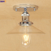 IWHD Silver Retro Industrial Ceiling Lamp Glass Lampshade Home Lighting Loft Vintage LED Ceiling Lights Edison Lampara Techo iron wrount edison vintage ceiling lights fixtures home lighting edison led ceiling lamp industrial plafon lampara techo