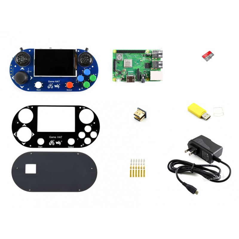 Raspberry Pi 3B+ Game hat 3.5inch HDMI LCD Gamepad Joystick console + Raspberry Pi 3B+ + Micro SD Card+Power Adapter etc